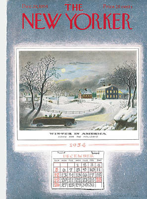 Winter Trees Painting - New Yorker December 25th, 1954 by Garrett Price