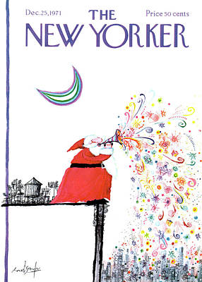 Winter Painting - New Yorker December 25th, 1971 by Ronald Searle
