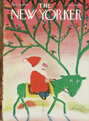 Santa Painting - New Yorker December 25th, 1978 by Andre Francois
