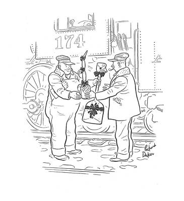 Exchange Drawing - New Yorker December 26th, 1942 by Richard Decker