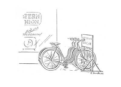 Bicycle Drawing - New Yorker December 26th, 1942 by Roberta Macdonald