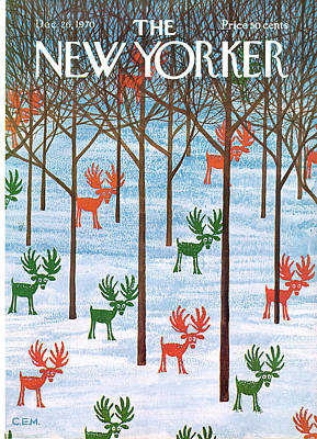 Trees In Snow Painting - New Yorker December 26th, 1970 by Charles E Martin