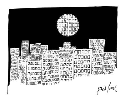 Full Moon Drawing - New Yorker December 26th, 1983 by David Pascal
