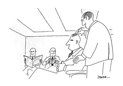 Bald Drawing - New Yorker December 26th, 1988 by Jack Ziegler