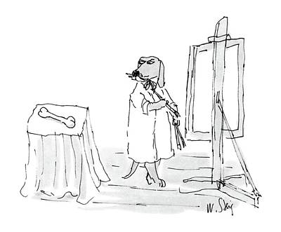Dog Artists Drawing - New Yorker December 26th, 1988 by William Steig