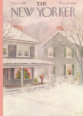 Winter Painting - New Yorker December 27th, 1952 by Edna Eicke