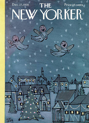 Night Angel Painting - New Yorker December 27th, 1958 by William Steig