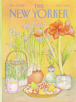 Tea Cups Painting - New Yorker December 27th, 1982 by Jenni Oliver