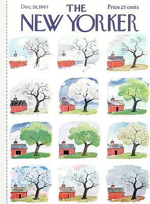 Autumn Painting - New Yorker December 28th, 1963 by Garrett Price