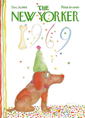 Pooch Painting - New Yorker December 28th, 1968 by Andre Francois