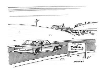 December Road Drawing - New Yorker December 28th, 1987 by Mick Stevens