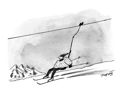 Ski Drawing - New Yorker December 28th, 1992 by Peter Porges