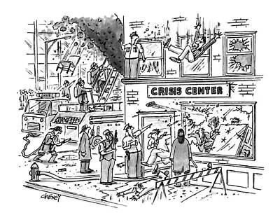 Raging Drawing - New Yorker December 28th, 1992 by Tom Cheney