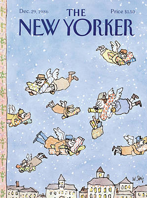 Christmas Angel Painting - New Yorker December 29th, 1986 by William Steig