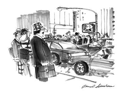 Traffic Signs Drawing - New Yorker December 2nd, 1996 by Bernard Schoenbaum