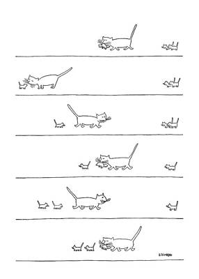 Kittens Drawing - New Yorker December 30th, 1950 by Saul Steinberg