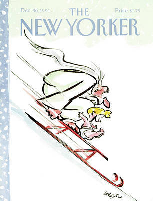 Baby New Year Painting - New Yorker December 30th, 1991 by Lee Lorenz