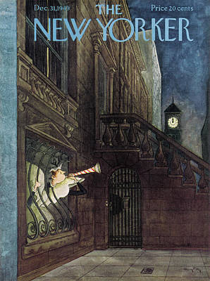 New Years Eve Painting - New Yorker December 31st, 1949 by Mary Petty