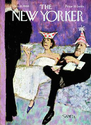 New Yorker December 31st, 1966 Art Print by Charles Saxon