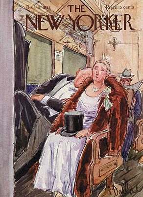Subway Painting - New Yorker December 3rd, 1938 by Perry Barlow