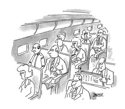 Passenger Plane Drawing - New Yorker December 5th, 1994 by Jack Ziegler