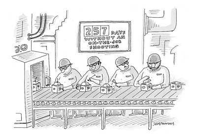 Factory Drawing - New Yorker December 6th, 1999 by Mick Stevens