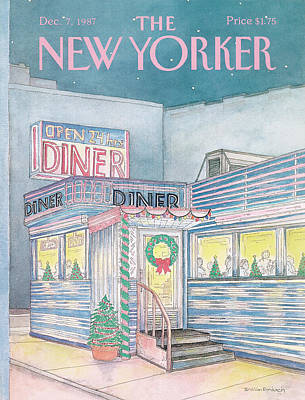 Christmas Decorations Painting - New Yorker December 7th, 1987 by Iris VanRynbach