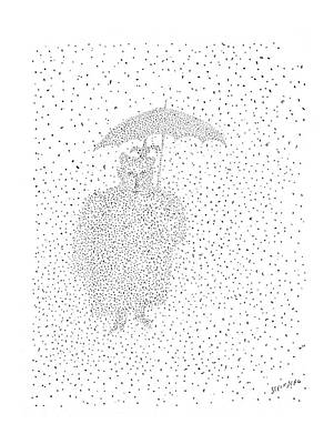 Snowstorm Drawing - New Yorker December 8th, 1956 by Saul Steinberg