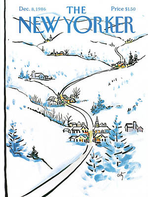 Snow-covered Landscape Painting - New Yorker December 8th, 1986 by Arthur Getz