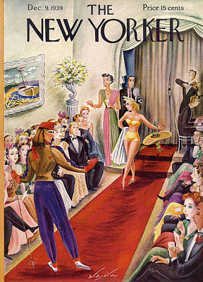 Fashion Show Painting - New Yorker December 9th, 1939 by Constantin Alajalov