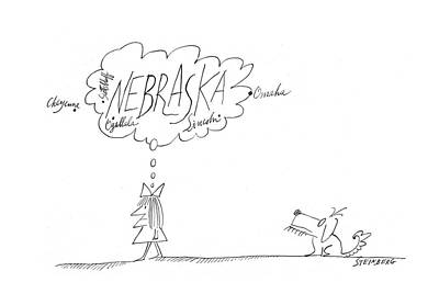 Girl And Dog Drawing - New Yorker December 9th, 1967 by Saul Steinberg