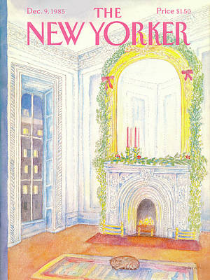 Christmas Wreath Painting - New Yorker December 9th, 1985 by Iris VanRynbach
