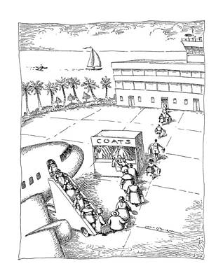Tropics Drawing - New Yorker December 9th, 1991 by John O'Brien