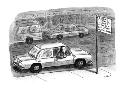 Window Signs Drawing - New Yorker December 9th, 1996 by Roz Chast
