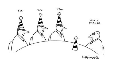 Boardroom Drawing - New Yorker February 10th, 1992 by Charles Barsotti