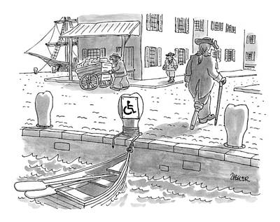 Boats At Dock Drawing - New Yorker February 10th, 1997 by Jack Ziegler