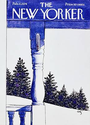 Winter Landscape Painting - New Yorker February 11th 1974 by Arthur Getz