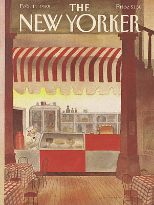 Pouring Painting - New Yorker February 11th, 1985 by Abel Quezada