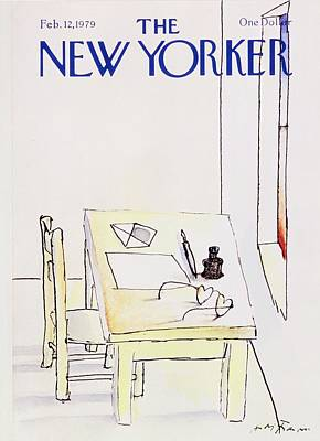 Desk Painting - New Yorker February 12th 1979 by Andre Francois