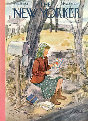 Mailbox Painting - New Yorker February 13th, 1954 by Perry Barlow
