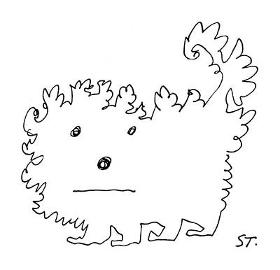 Puppy Drawing - New Yorker February 13th, 1960 by Saul Steinberg
