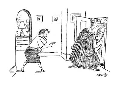 Protection Drawing - New Yorker February 14th, 1953 by Anatol Kovarsky