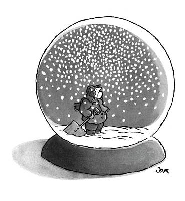Falling Snow Drawing - New Yorker February 14th, 1977 by John Jonik