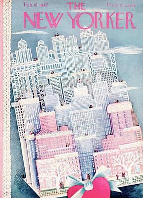 Embrace Painting - New Yorker February 15th, 1947 by Ilonka Karasz