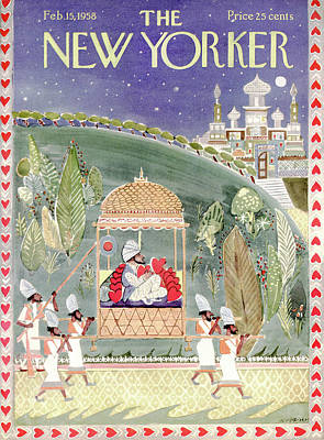 Sultan Painting - New Yorker February 15th, 1958 by Anatol Kovarsky