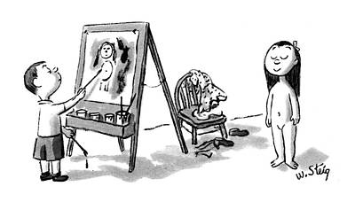 Little Girls Nude Drawing - New Yorker February 16th, 1952 by William Steig