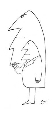 Connect Drawing - New Yorker February 16th, 1963 by Saul Steinberg