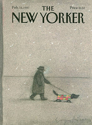 Dog Walking Painting - New Yorker February 16th, 1987 by Eugene Mihaesco
