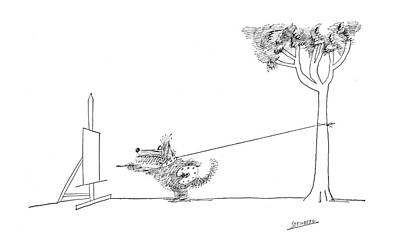 Puppy Drawing - New Yorker February 17th, 1968 by Saul Steinberg