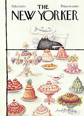 Food Painting - New Yorker February 17th, 1973 by Ronald Searle